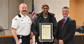Mayor Yates issues a proclamation to Twinsburg resident and Hero Wade Wooten. Mr. Wooten unselfishly ran into his neighbor's apartment and rescued her from the fully engulfed fire on February 11, 2017. Fire Chief Tim Morgan also recognized Mr. Wooten for his heroic actions and thanked him for his help during the folloiwng investigation