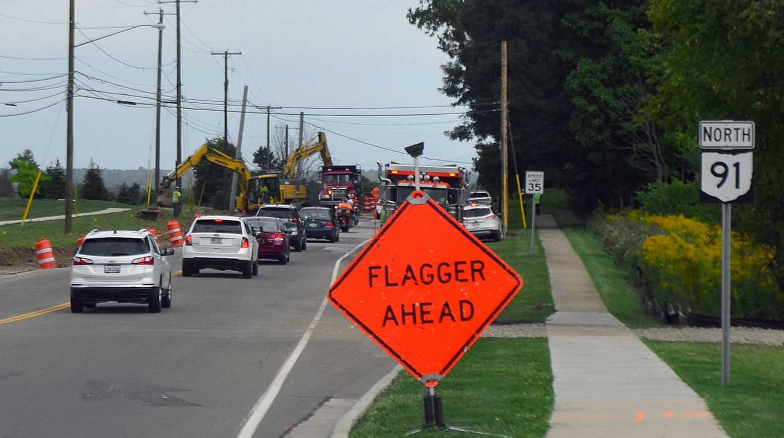 Construction on Route 91 (Darrow Road) between Glenwood Drive and Lisa Lane has begun.    Work antic