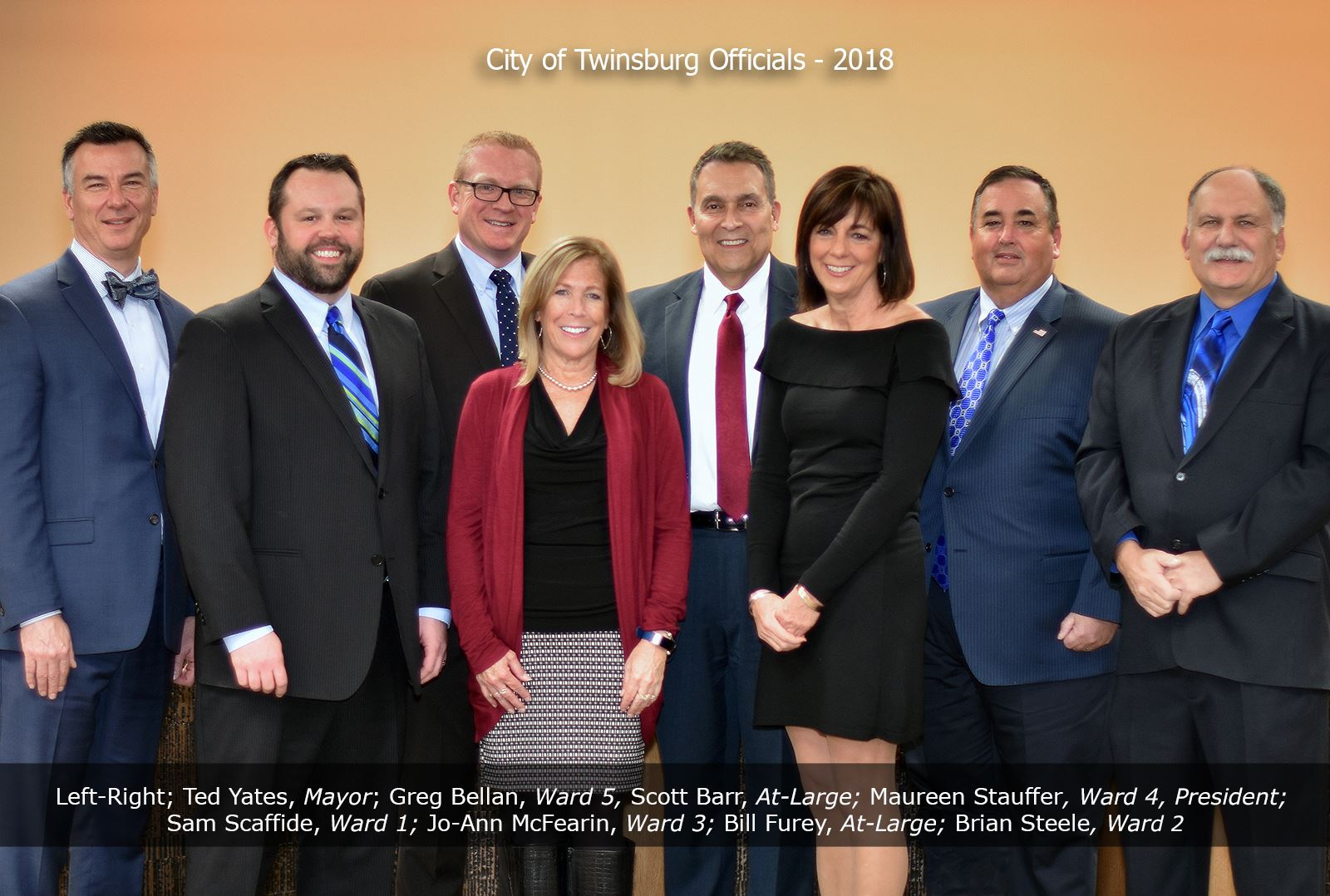 City of Twinsburg Officials - 2018, Left-Right; Ted Yates, Mayor; Greg Bellan, Ward 5, Scott Barr, A
