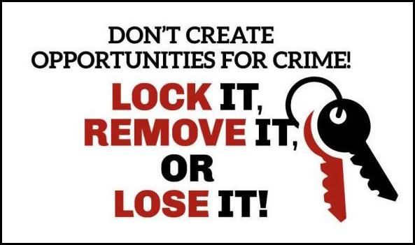 A Friendly Crime Prevention Tip from Chief Noga:  We handled a stolen vehicle call earlier this week