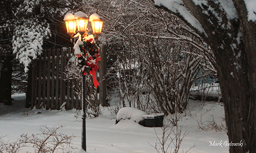 Snow blankets a lamp post on Sunview Drive. Copyright Mark Gutowski